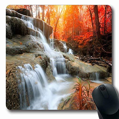 Luancrop Mousepads Thailand Grün Huay Mae Kamin Wasserfall Himmel Naturparks Fluss Erstaunlicher Herbst-Kaskaden-Park rutschfeste Spiel-Mausunterlage Längliche Gummimatte (Kamin Und Wasserfall)