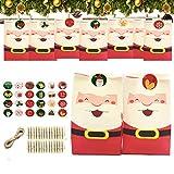 QIMMU 24 Sacchettini di Carta, 24 Calendari Dell'avvento,24 Pezzi sacchettini Carta Kraft Piccoli Natale scatole Regalo Natalizie con 24 Adesivi Utilizzato per Regali Alimenti Dolci Caramella