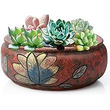 Maceta redonda de cerámica, 1 maceta de cerámica pintada a mano, maceta suculenta,