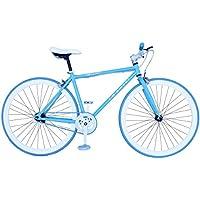 "Fixie Helliot Soho H01 - Bicicleta Fixie, Cuadro de Acero, Frenos V-Brake, Horquilla Acero y Ruedas de 26"", Color Azul Claro"