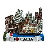 Weekino Souvenir Roma, Venecia, Pisa, Coliseo, Florencia, Italia, Imán de Nevera, Resina, Viaje en la Ciudad, Viaje, Recuerdo, Pegatina