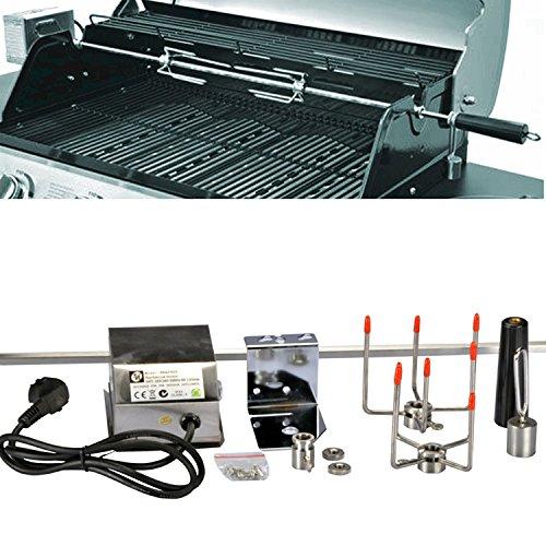 Edelstahl Drehspieß Grillspieß für Gasgrill Grill +Motor 220-240V 104 cm NEU 10x10 mm
