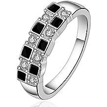 fashion 925 de plata de ley joyería blanco y negro mosaic zircon pendientes con anillo bonito tamaño 8