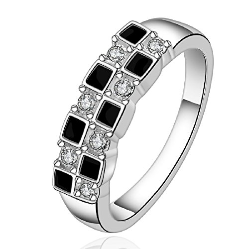 fashion 925 sterling silver jewelry black and white mosaic zircon earrings with nice ring size 8