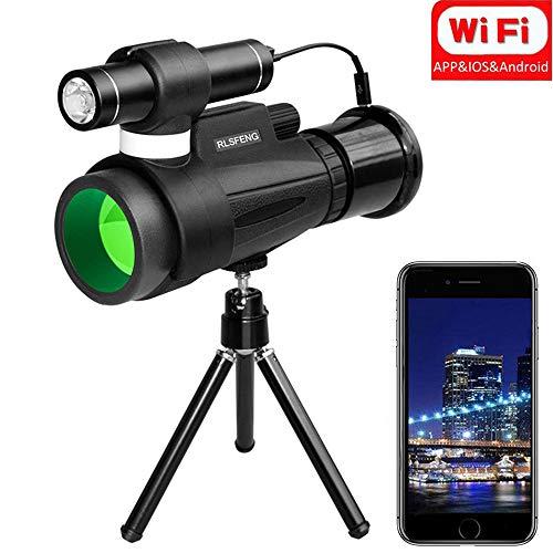 RDJM WiFi Monocular 12x50 High Power Prism Monocular, Infrared Night Vision Monocular mit Wireless WiFi Connect an Smartphone APP, für Outdoor-Trip Nachtwächter