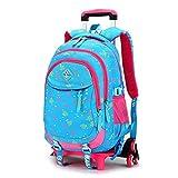 VISTANIA Schoolbags école Trolley Enfants Sac à Dos école Sac à Dos d'école de Mode Hommes détachable Sise 48 * 31 * 19cm,Blue