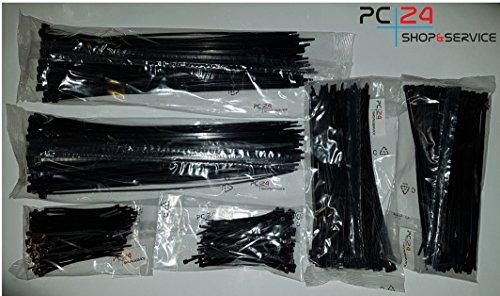 Kabelbinder SET 600Stck. Schwarz | 200 x 100mm | 200 x 200mm | 200 x 290mm | Premiumqualität von PC24 Shop & Service