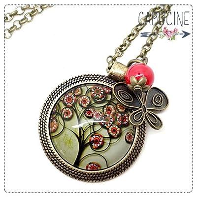 Sautoir Arbre de Vie bronze et cabochon verre - Long collier Arbre de Vie - Arbre de Vie - idée cadeau de noël, cadeau de saint valentin, cadeau d'anniversaire, cadeau fête des mères