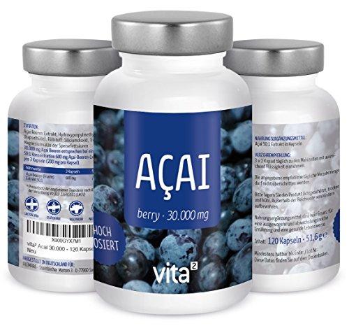 vita² Acai Beere 30000 mg - 120 vegane Kapseln Acai Berry Pulver, hochdosiert und rein - Premiumqualität made in Germany