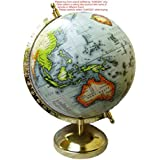 Ajmoda Educational/Antique Globe With Gold Finish Metal Arc And Base- 8 Inches Color Cream Beige