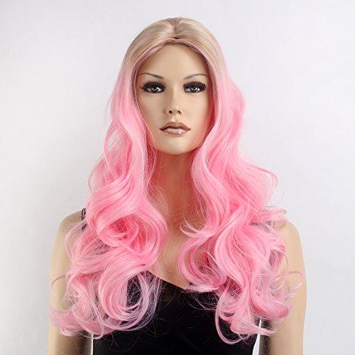 Produktbild stfantasy Perücken für Frauen lange Wave hitzebeständiges Synthetikhaar 66 cm 240 g flauschig Wig peluca frei Hair Net + Clips,  Pink gemischt blond