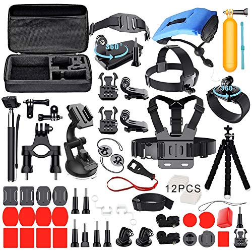 Deyard Accessories Kit Set for GoPro Hero 8 Hero 7 Hero 6 Hero 5 Hero 4 Hero HD(2018) Hero Fusion Max/Session Fit Xiaomi AKASO Crosstour Apeman Action Camera