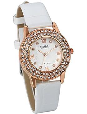 JewelryWe Damen Mädchen Armbanduhr, Analog Quarz, Fashion Casual Leder Armband Uhr mit Doppel Linien Strass Römischen...
