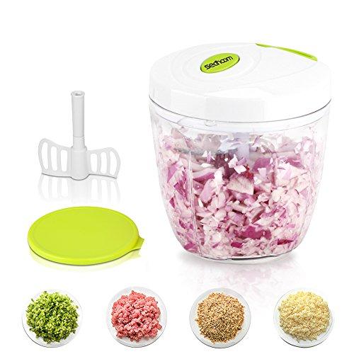 Sedhoom Gemüseschneider 5 Klingen 1000ml,Obst und Gemüse Zwiebel Zerkleinerer Küche Multizerkleinerer
