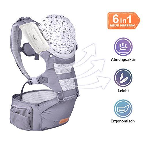 【VerbesserteVersion】Bable ergonomische Babytrage von 3,6 bis 15 Kg, spezielle Rückentragebaby  für Frühling und Sommer, bequeme Positionen für Säuglinge von 3 bis 36 Monaten, ideal Babytragetuch fürWanderung,Shopping undHausarbeit