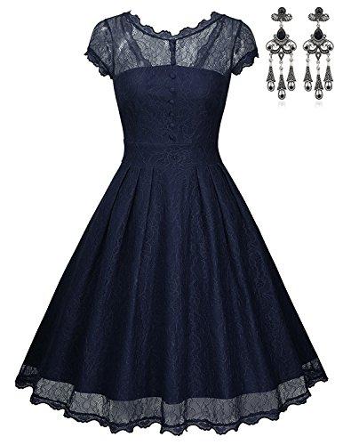 MODETREND Damen Kleider Elegant Spleiß Spitzenkleider Rundhals Ausschnitt Rockabilly Partykleider Abendkleid Casualkleider Dark Blau