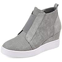 Poplover Womens Fashion Sneakers Zipper Wedge High Top Wedge Trainers