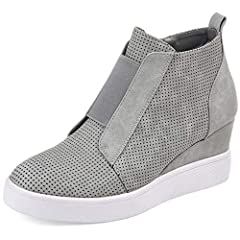 1290eb239b2 Poplover Womens Fashion Sneakers Zipper Wedge High Top Wedge .
