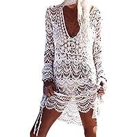 Homebaby - Copricostume Mare Donna Pizzo Camicia - Copribikini in Cotone sui Costume da Bagno Sexy - Kimono Vestito Lungo Estate Boho Hippie Kaftan Tunica Etnica Abito da Spiaggia