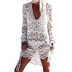 5cf8fec66c2a Homebaby - Copricostume Mare Donna Pizzo Camicia - Copribikini in Cotone  sui Costume da Bagno Sexy - Kimono Vestito Lungo Estate Boho Hippie Kaftan  Tunica ...