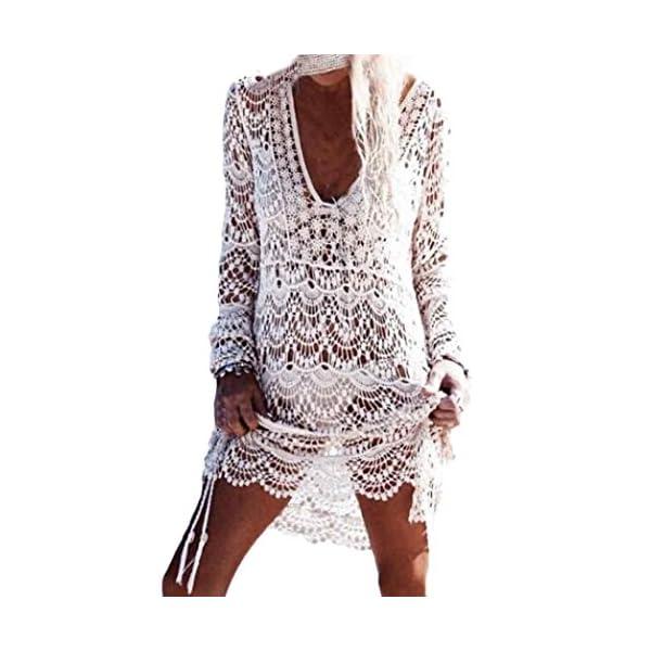 sale retailer a4412 204b5 Homebaby - Copricostume Mare Donna Pizzo Camicia - Copribikini in Cotone  sui Costume da Bagno Sexy - Kimono Vestito Lungo Estate Boho Hippie Kaftan  ...