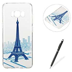 Feeltech MAGQI Samsung Galaxy S8 Plus case,Flexible Ultra Thin Soft Gel TPU Silicone Rubber Case with Funny Cute Design Pattern Shock-Absorb and Anti-Scratch Protective Premium Clear Bumper Skin Back Cover Drop Protection Lightweight Transparent Case [Free 2 in 1 Stylus] for Samsung Galaxy S8 Plus - Blue Tower