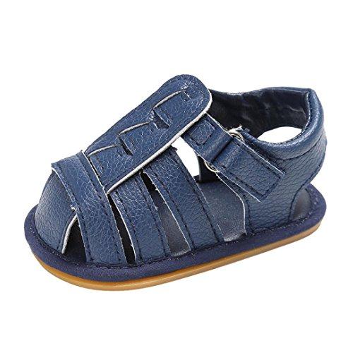 Culater® Pattini di cuoio molli del bambino appena nato Prewalker della culla del bambino della neonata 0-18M Blu