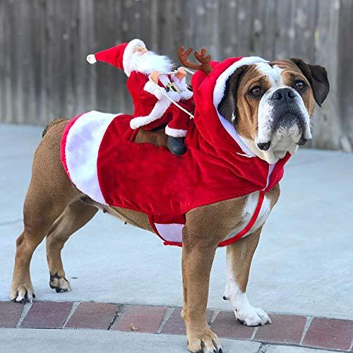 SUREH Weihnachtsmann Elch Hundekostüm, Haustier Kostüm mit Kapuze, Mantel für Hunde und Haustiere, Party, Verkleidung, Kleidung für kleine und große Hunde und Katzen, Größe - Versuchen Jungs Kostüm