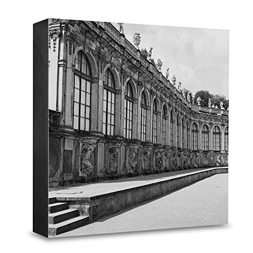 COGNOSCO HG-DD114 Foto-Holzblock medium-15 x 15 cm-Wandbild mit Architektur-Fotografie Dresden-Zwinger, Holz, Schwarz-Weiß 15x15cm (Schwarze Holz-zwinger)