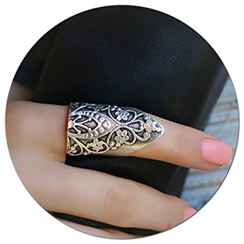 Antique Silver Plated Authentic Retro Vintage Boho Large Unique Statement Long Adjustable Big Ring