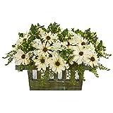 Nearly Natural Daisy Artificial Arrangement in Decorative Planter künstliche Pflanze, Plastik, cremefarben