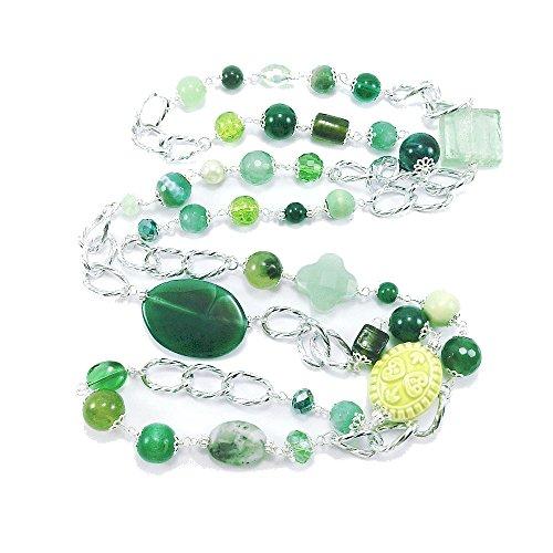 Collana lunga verde con pietre dure, maxi collana verde chiaro e verde scuro con catena in alluminio e pietre dure