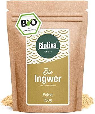 poudre de gingembre bio (250g) - racine de gingembre moulu - pour le thé iu à l'eau de gingembre - qualité biologique de Biotiva - mis en bouteille et contrôlée en Allemagne
