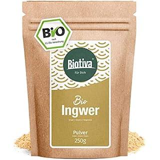 Bio-Ingwerpulver - 250g Bio-Ingwer - Ingwerwurzel gemahlen | z.B. für Ingwertee und Ingwerwasser | Bioqualität von Biotiva - Abgefüllt und kontrolliert in Deutschland