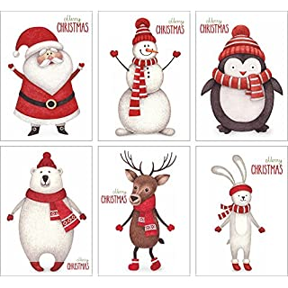 ArtUp.de 12 Weihnachtskarten   Set mit 6 außergewöhnlichen Motiven   DIN A6 Postkartenformat   edel fein exklusiv lustig   Rückseite weiß - Platz für Weihnachtsgrüße   Grußkarten Weihnachten