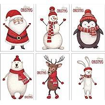 12 Weihnachtskarten / Set mit 6 Motiven / DIN A6 / edel fein exklusiv / Weihnachtspostkartenset Grußkarten Weihnachten