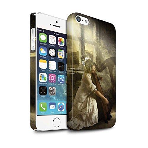 Officiel Elena Dudina Coque / Clipser Matte Etui pour Apple iPhone 5/5S / Mélodie du Silence Design / Réconfort Musique Collection Harpe/Harpiste