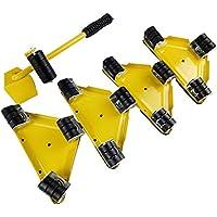 Byjia Muebles Lifter Mover Rollers Fácilmente Triple Wheels Kit De Diapositivas 5Pcs,Yellow