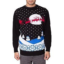 Vitageclothing -Suéter / Jersey Navideño para Hombre de color Trineo de Papá Noel Schwarz de talla Small - Trineo de Papá Noel Schwarz