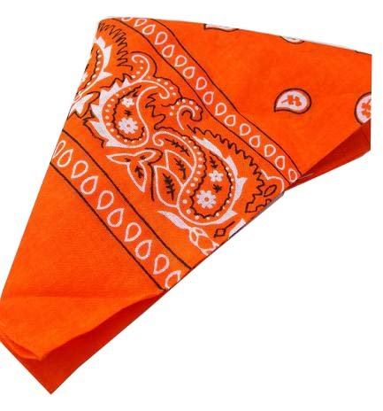 Hot Orange Baumwolle Bandana Schal Black White Square Paisley (Square Schal Paisley)