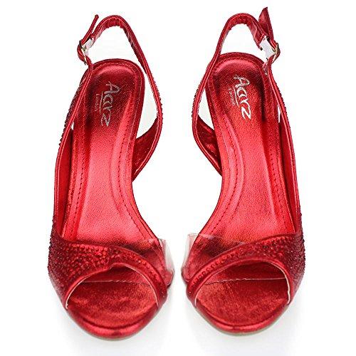 Aarz Frauen-Dame-Abend-Hochzeitsfest -Absatz-geöffnete Zehe Diamante Braut Sandalen Schuhe Größe (Gold, Silber, Champagner, Rot, Schwarz) Rot
