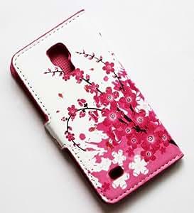 CHSH Cuir prune fleur Portefeuille Cover Shell Housse Coque Étui Case pour Samsung Galaxy S4 IV I9500 NO.37