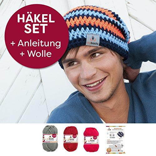 Kreative Beanie-Mütze Iga häkeln, mit Myboshi Wolle No.1 3x50g, ganzes Häkelset mit Anleitung + selfmade Label, in der passenden Farbkombination titangrau, chillirot, kirsche