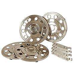 Set di 4 copricerchi da 16 pollici in acciaio inox, specifici per camper e furgoni.