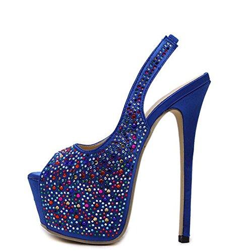 L@YC Frauen Rhinestone Sandalen High Heels Fashion Show Featured Fisch Mund Sequins / Schwarz / Blau Blue