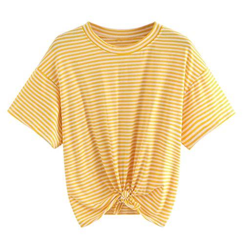 Oberteile Frauen Sommer, Ulanda Teenager Mädchen Mode Crop Top Sport Bauchfrei Shirt Bluse Damen Casual Rose Stickerei Kurzarm Gestreift T-Shirts Hemd Tops Pullover Sale -