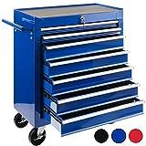 Arebos Werkstattwagen 7 Fächer/zentral abschließbar/Anti-Rutschbeschichtung/Räder mit Festellbremse/Massives Metall/rot, blau oder schwarz (Blau)