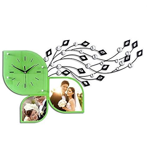Amplio living comedor dormitorio Arte creativo reloj hierro forjado foto marco pared reloj de pared , fresh green