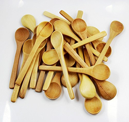 chengyida 50 12,7 cm Mini Holz Löffel Gewürze Salz Löffel, Kochlöffel aus Holz, natur Holz Handwerk Mini-Löffel Icecream Kinder Reis Scoop - Mini Ice Cream Scoop