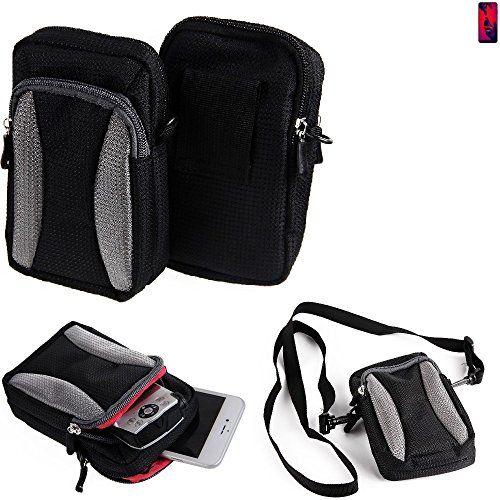 K-S-Trade Für Huawei P20 Pro Dual-SIM Gürteltasche Umhängetasche Für Huawei P20 Pro Dual-SIM schwarz-grau + Extrafach mit Platz für Powerbank, Festplatte etc. | Case travelbag Brustbeutel Brusttasche